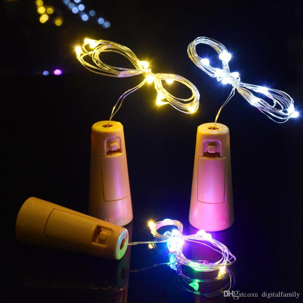 Led Lamps Cork Shaped Wine Bottle Stopper String Lights 2 Meters 20 Leds Silver Copper Wire Diy Christmas Halloween Wedding Party Crafts Beautiful In Colour