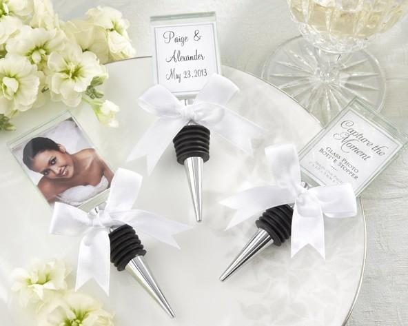 wedding return gifts Keepsake Crystal Photo frame Wine Stopper Silver Wine stopper Wedding favors and gifts wholesale