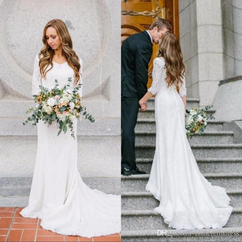Summer Vintage Wedding Dresses: Summer Vintage Modest Wedding Dresses With Long Sleeves