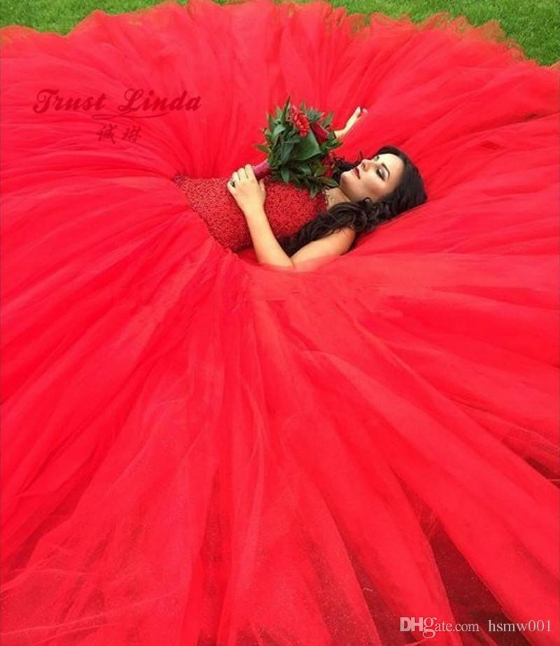 Robe de mariée rouge 2017 Turquie robe de bal pays Western Weding désherbage mariée robes de mariée robes de mariée robe de mariage