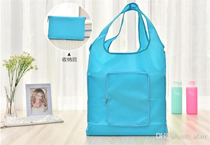 للطي المحمولة ماء أكياس التسوق أكسفورد القماش التخزين زيبر حقيبة قابلة لإعادة الاستخدام صديق للبيئة حمل الحقيبة بيئة آمنة الذهاب الخضراء DHL