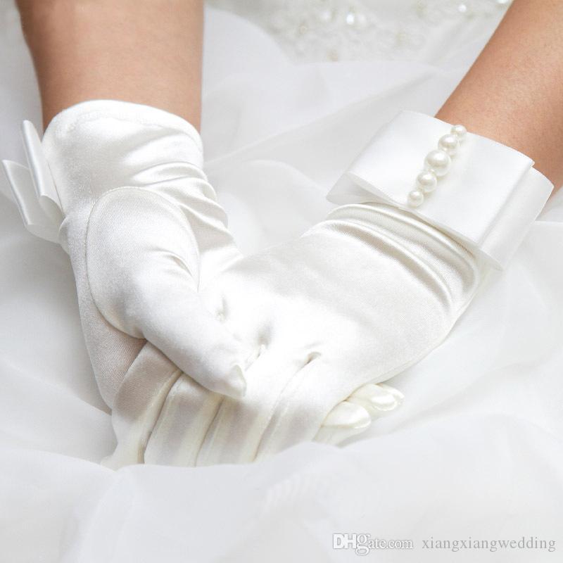 Bridal Gloves Fashion Wrist Pearl White Ivory Wedding Gloves Dress Short Paragraph Mitts Wedding Accessory Cheap