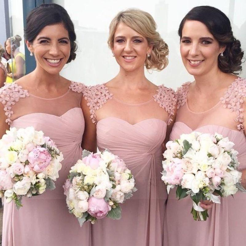 Robes de demoiselle d'honneur pas cher en vente robes de bal longues une ligne fleurs Zip arrière étage longueur mousseline de soie formelle robes de soirée de mariage