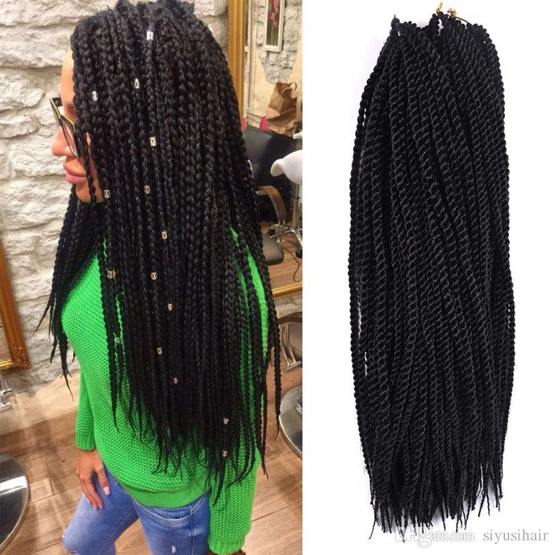 세련된 합성 꼰 머리 18inch 90 루츠 / 팩 200g Crobstet Braids 1 조각 8 색 크로 셰 뜨개질 머리카락 확장