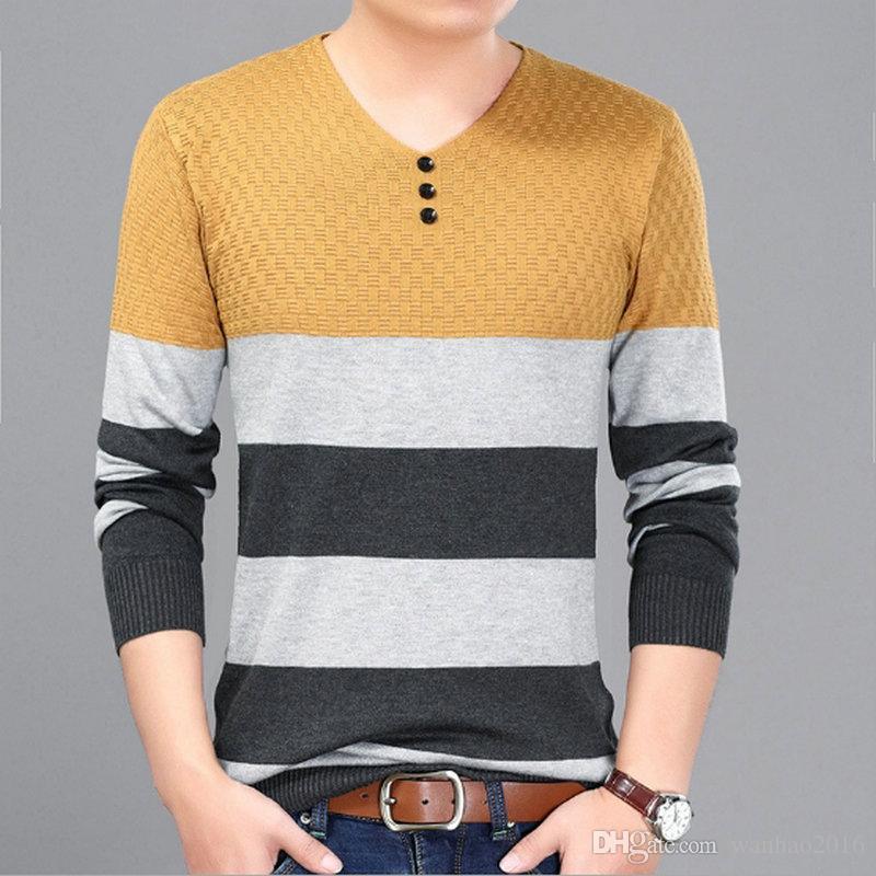 Dünne Art-Mann-Strickjacke 8 entwirft strickenden Pullover-elegante gestreifte Jacquardmuster V-Ausschnitt Rundhalsausschnitt Freies Verschiffen