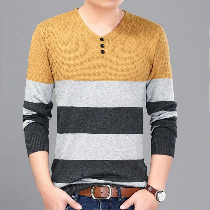 Estilo Fino Homens Camisola 8 Projetos Tricô Pullover Elegante Listrado Jacquard Padrões V pescoço Em Torno Do Pescoço Frete Grátis