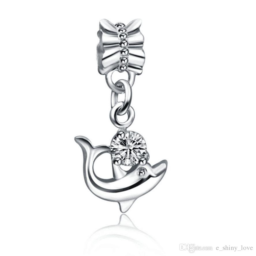 Wholesale Fashion Silver plated Rhinestone dolphin Design Alloy metal Dangle DIY Charms fit European Bracelet & Necklace Low Price