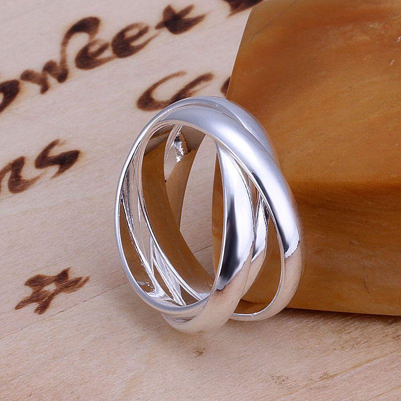 2017 Sliver Plated Tripleinterwoven Band Infinity Ring Statement Three Thumb Winding for girlfriend boyfriend birthday gift