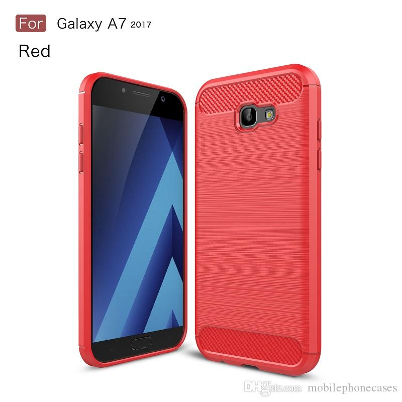 New CellPhone Case For Samsung Galaxy A7 2017 TPU Carbon Fiber brushed slim case for Galaxy A7 2017 phone cover 2017 hot sale