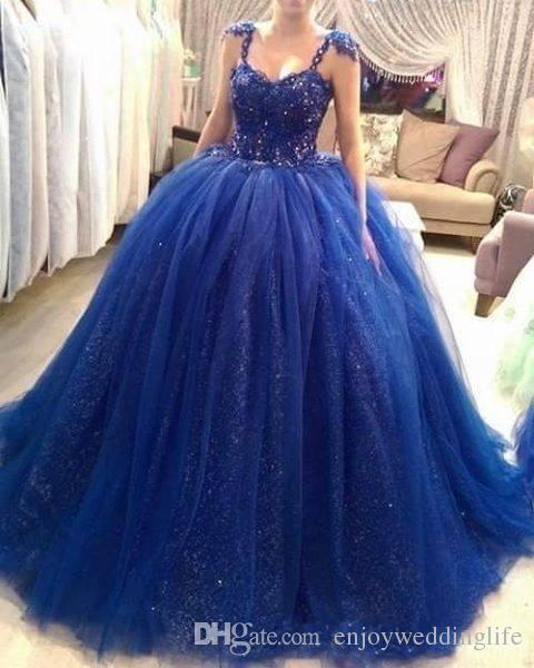 2017 Royal Blue Ball Gown Quinceanera Dresses Straps ...  2017 Royal Blue...