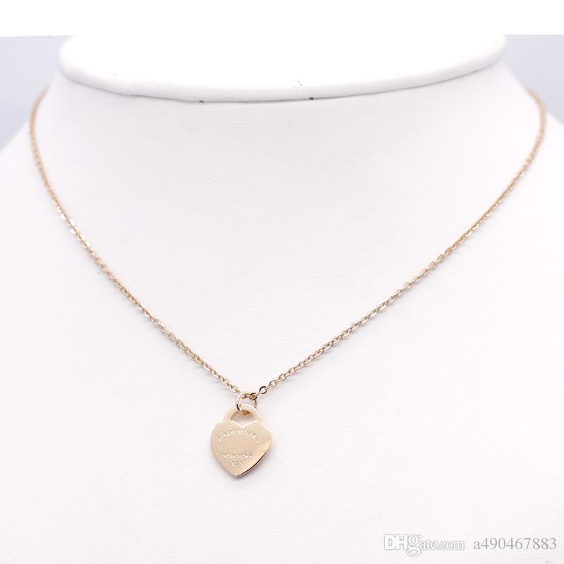 Ünlü marka jewerly paslanmaz Çelik 18 K altın kaplama kolye kısa zincir gümüş kalp kolye kolye kadınlar için çift hediye