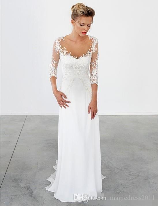 Simple Beach Wedding Dresses 3/4 Long Sleeves Vintage Wedding Gowns Bohemian Sheath Chiffon Greek Bridal Gowns Lace Appliques