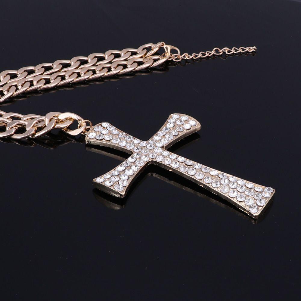 Heißer Verkauf Gold Silber Kreuz Kristall Anhänger Mode Elegante Schmuck-Set Für Frauen Mädchen Choker Halskette Ohrring collier femme