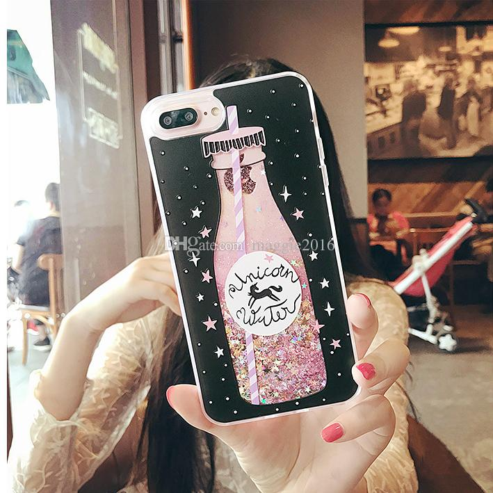 2017 Luxury korea flare star sequins glitter liquid quicksand coffee drink glass bottle unicorn eiffel tower tpu case For Iphone6 6s 7 7plus