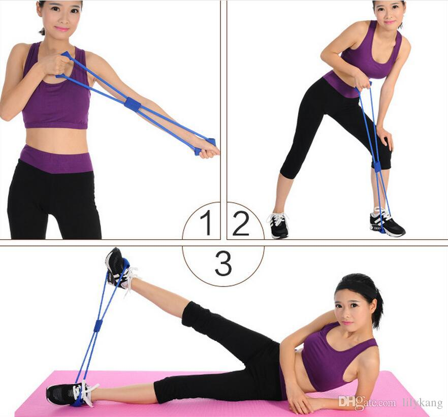New Resistance Training Bands Tube Workout Exercise for Yoga fitness 8 Type Fashion Body Building Fitness Equipment Tool