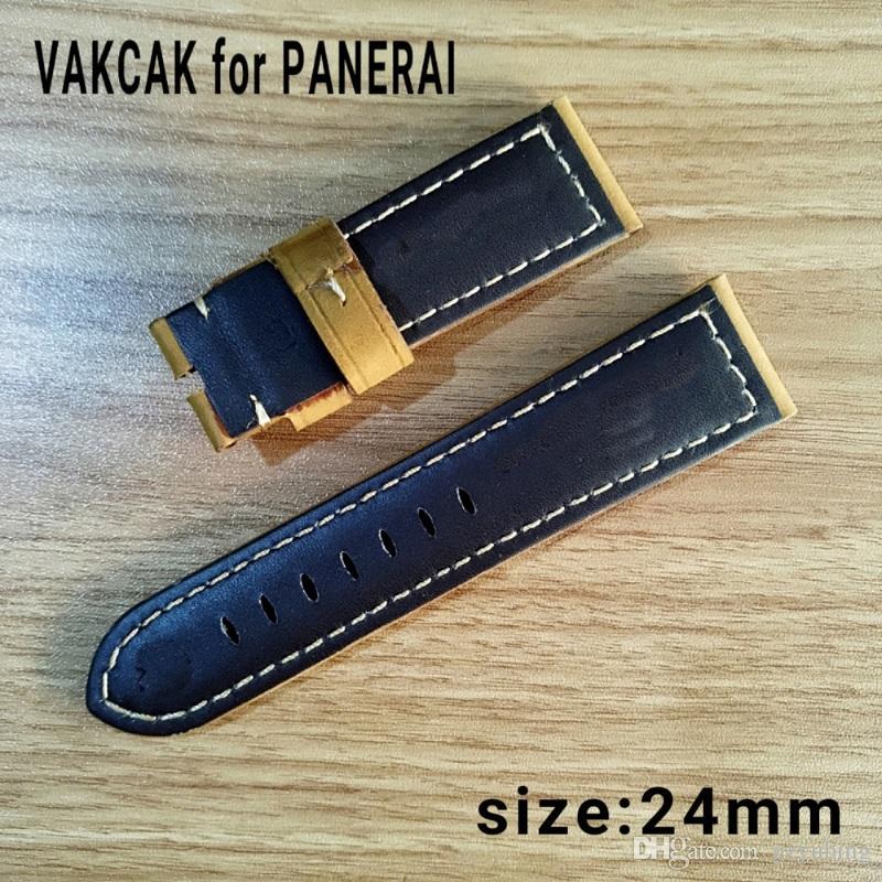 Relógio de luxo 24mm alta qualidade pulseira de couro genuíno apto para PANERAI PAM sem fivela de aço inoxidável