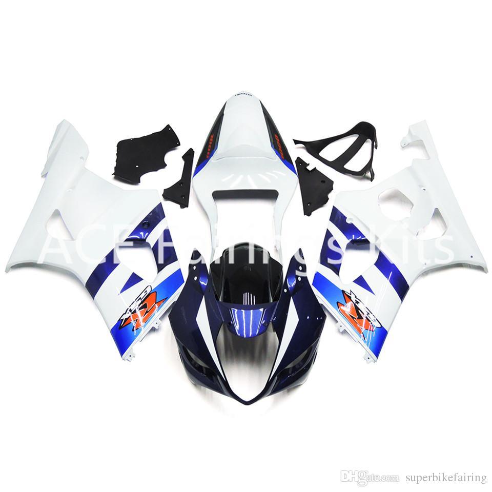 3 free gifts New Suzuki GSXR1000 K3 03 04 GSXR 1000 K3 2003 2004 Injection ABS Plastic Motorcycle Fairing Bright white blue style
