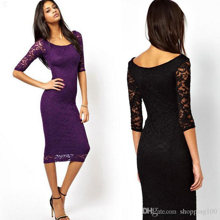 Party Cocktail Slim Midi Scoop Neck 3/4 Sleeve Lace Dress Boat Neck ...
