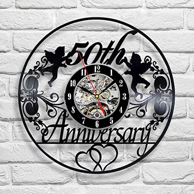 Compre Aniversario 50 Años Reloj De Pared De Vinilo De Arte Sala De ...