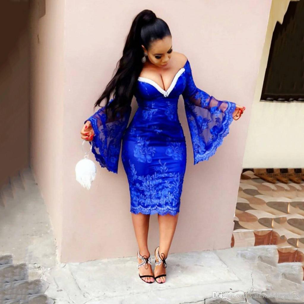 Синие глубокие короткие выпускные платья с V-образным вырезом и длинными рукавами Вечерние платья Назад Коктейльные платья на молнии длиной до пола, выполненные на заказ Платья для вечеринок