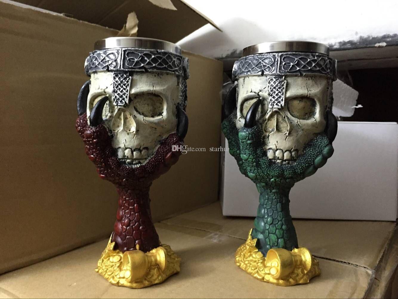 3D 두개골 머그잔 벽 스테인레스 스틸 컵 200-400ml 커피 맥주 차 컵 나이트 Tankard 드래곤 마 찻잔 무료 DHL WX C10