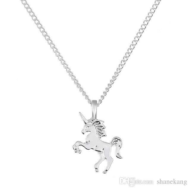 Золотой Серебряный Единорог Кулон Классический Лошадь Ключицы Цепи Ожерелье Ручной Штампованные Ожерелье Ювелирные Изделия