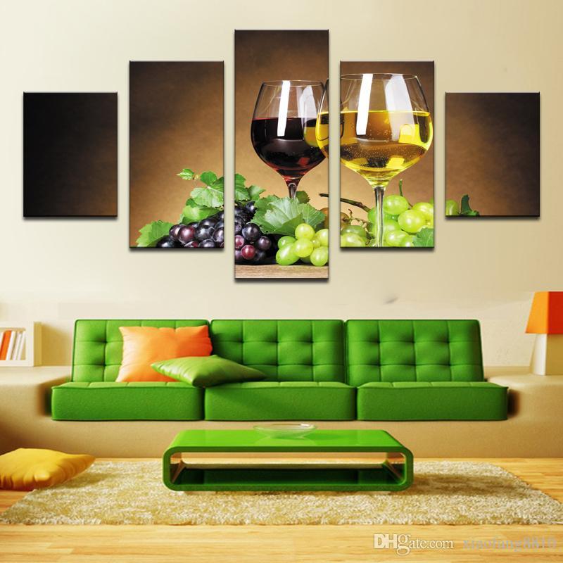 Decorazione della casa 5 pezzo Tazze di vino immagini su tela pittura a olio su wall art soggiorno stampa decor economici moderni no frame