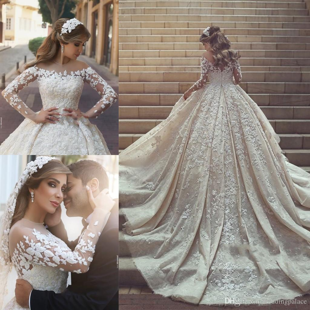 Discount Elegant O Neck Long Sleeve A Line Wedding Dresses Appliques ...