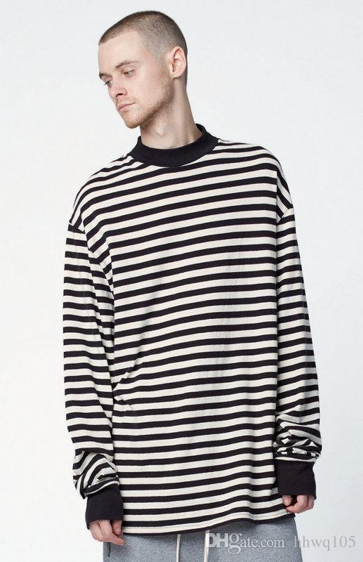Männer Übergroßen Langarm T-Shirt High Neck Gestreiften Baumwolle Herbst Winter Tees Big Bang GD Streetwear Hip Hop Club Tops YYF1122