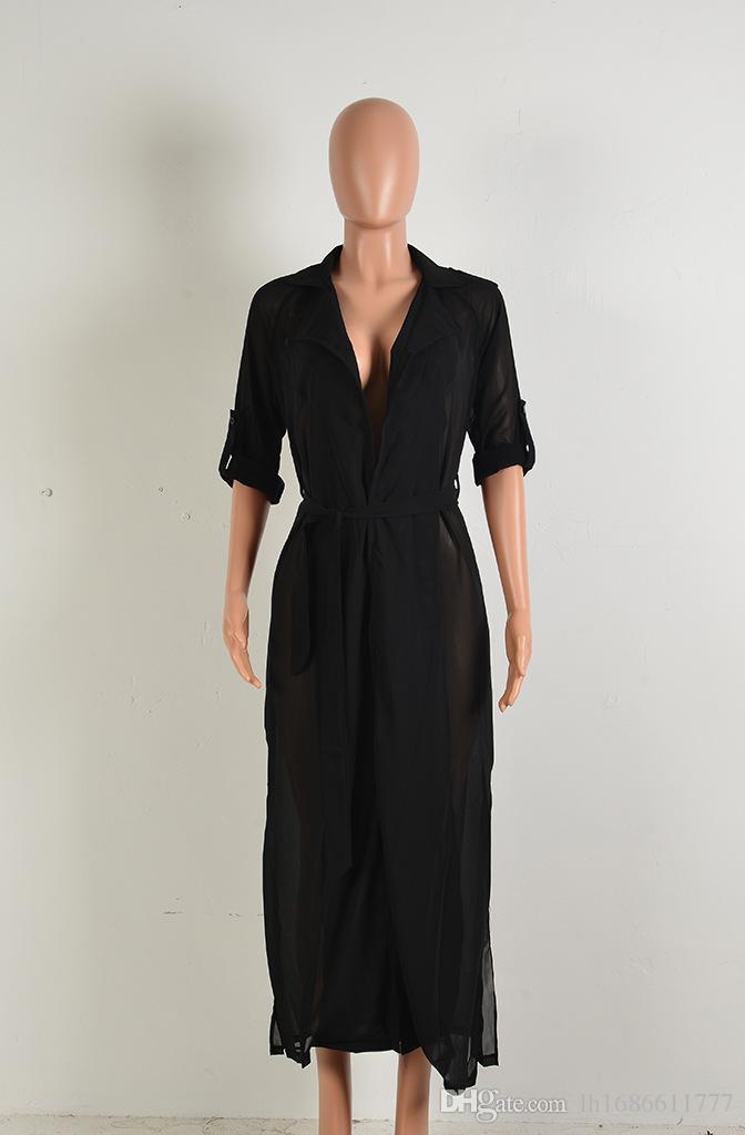 Les femmes de mode d'été à manches longues sur les revers en mousseline de soie tops long cardigan dame chemise sexy vêtements de plage robes Blouses de femmes manteau