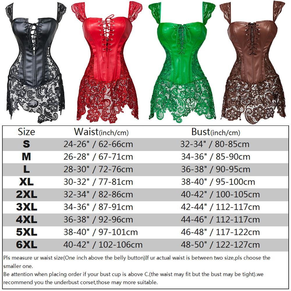 X Steampunk Lace-strap Zip Back Lace up Front Top Corset Bustier Overbust Gothic Sexy Women Body shaper S-6XL Read size chart