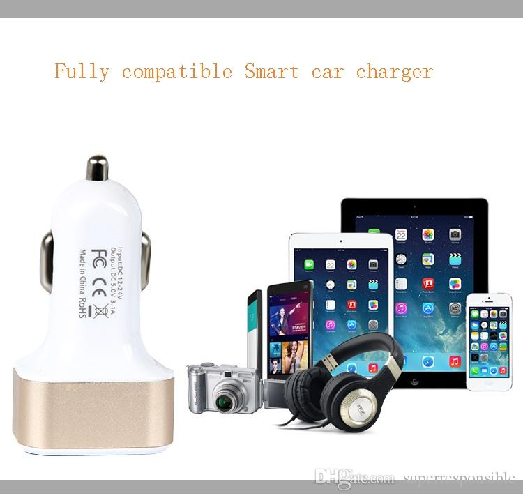 intelligent Car Charger 5V 2.1A Quick Charge Dual USB Port LED Display Cigarette Lighter Phone Adapter Car Voltage Diagnostic for iphone6 7