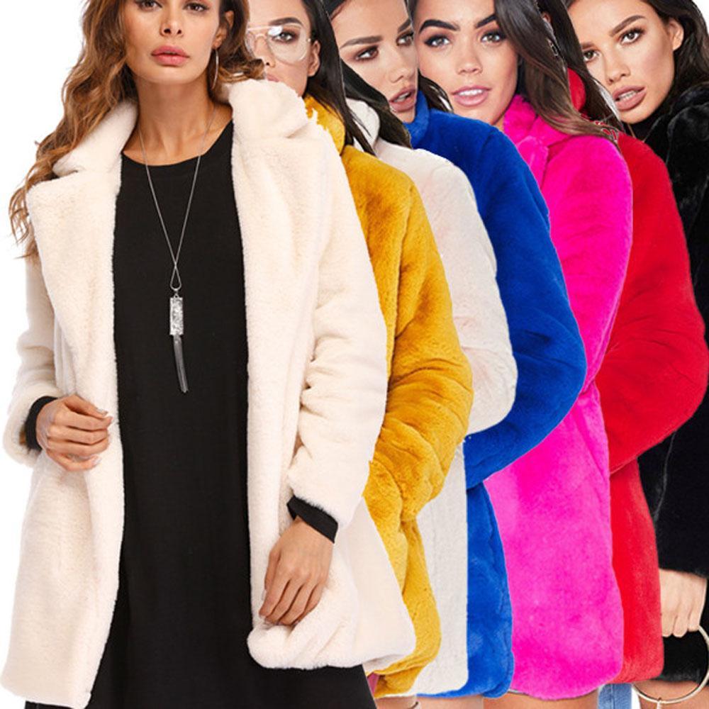 c4c175913f16f Womens Winter Casual Fashion Warm Fluffy Fuzzy Faux Fur Coat Long ...