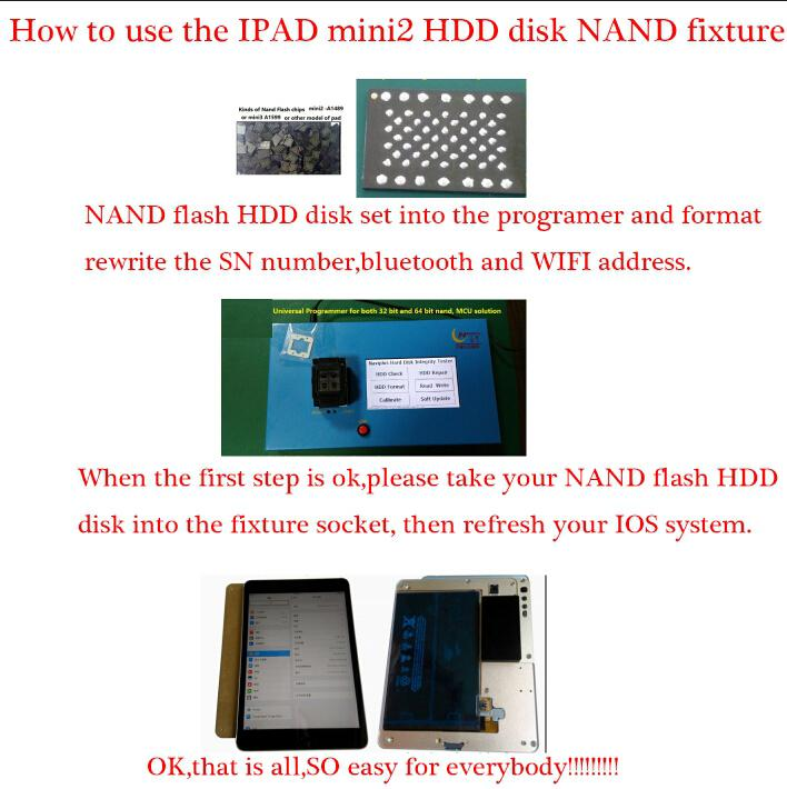 32bit 64bit Unlock for ipad2 3 4 nand flash IC chip programmer write serial number for iPhone 5 5S 6 6P IC chip programmer