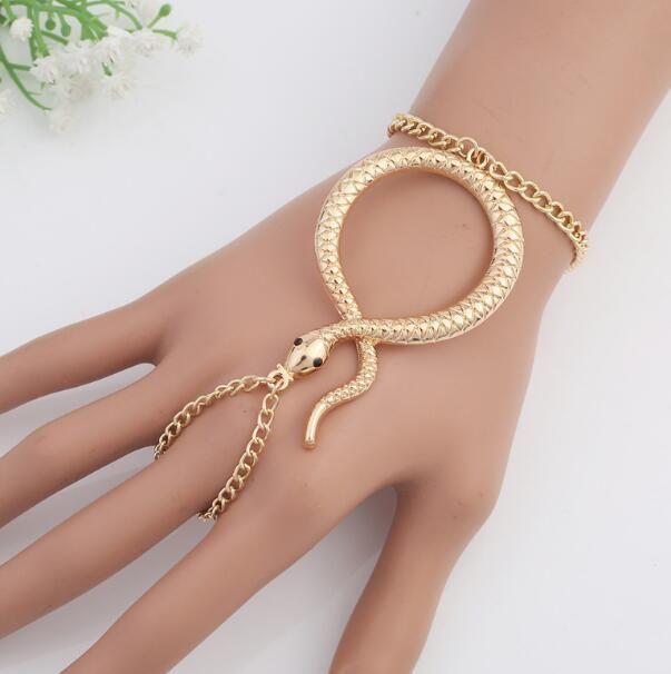 Anello regolabile a forma di serpente e bracciale a catena gioielli da donna con design europeo e americano