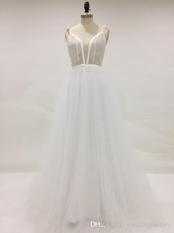 Real Picture Sexy Sheer Wedding Dress Spaghetti Straps Illusion Top Backless Lace-up Puffy Tulle Country Beach Bridal Gowns Real Image