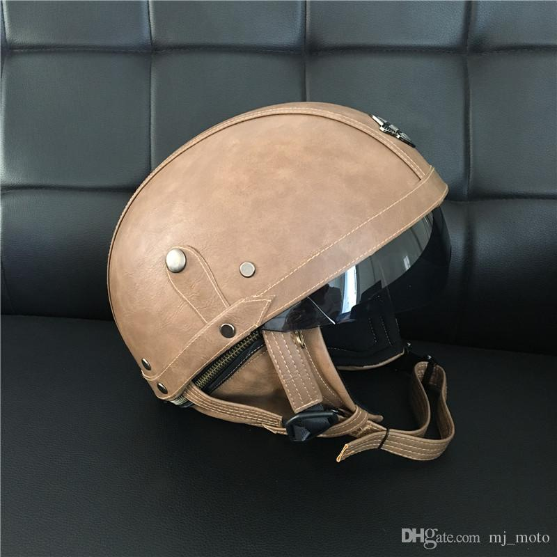2017 HOT SALE Brown Leather Vintage Brand Motorcycle Scooter Half Face Leather Harley helmet Classic Retro brown helmets Casco & Goggles