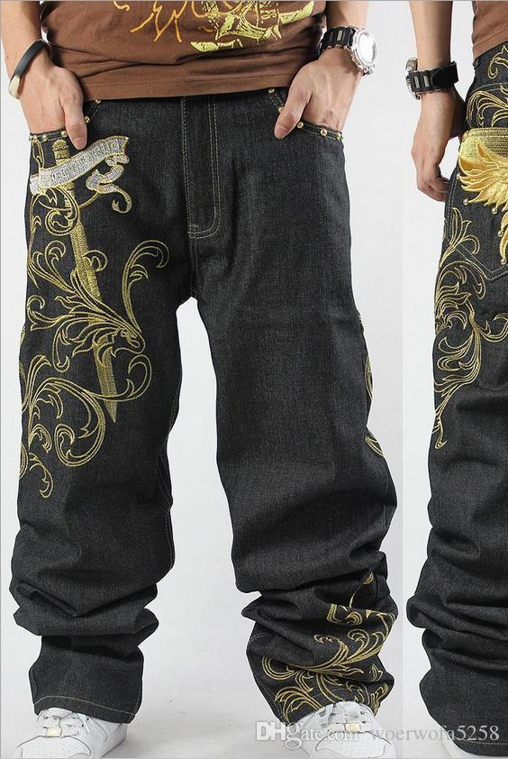 cb3cc50de6c 2019 New Fashion Leisure Trend Men S Wear Embroidery Hip Hop Jeans Trousers  HIPHOP Hip Hop Casual Fat XL Skateboard Pants 30 46cm From Woerwofa5258