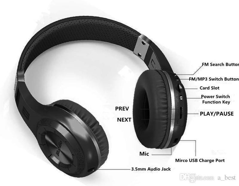 Bluedio H + 무선 블루투스 헤드폰 4.1 스테레오 스튜디오 헤드셋은 내장 마이크 핸즈프리와 FM 라디오 통화 및 음악 스트리밍