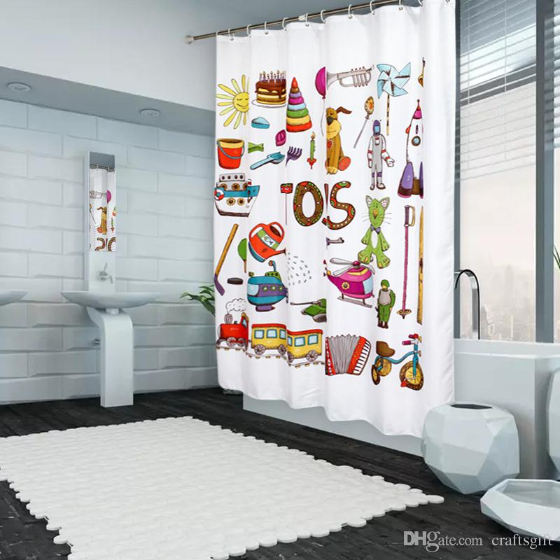 Cute Cartoon Toys Print Shower Curtains Customized Waterproof Bathroom Shower Curtain Home Decors Polyester Fabric Bath Curtain Wholesale