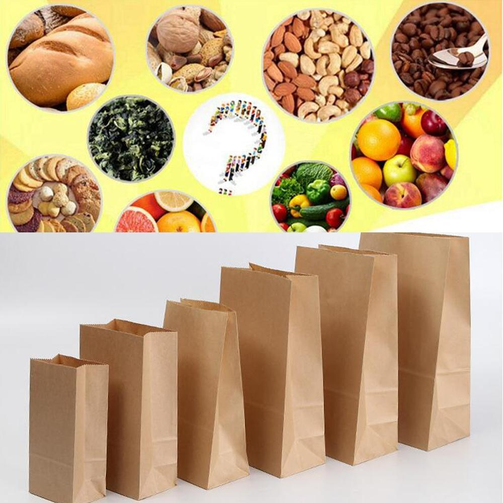 50pcs Kraft Paper Bags Food tea Small Gift Bags Sandwich Bread Bags Party Wedding supplies Wrapping Gift takeout take out