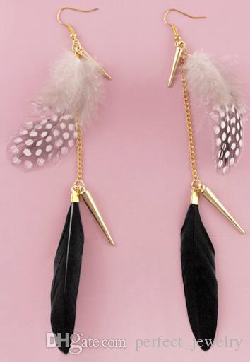 Feather Earrings wholesale Golden Accessory Chain Light Dangle Eardrop New Teal Brown Blue Yellow Green Orange WhiteJF294
