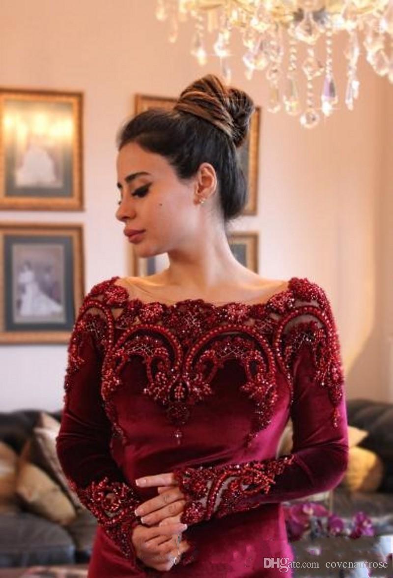 Yeni Couture Bordo Velet Abiye Uzun Kollu Boncuklu Aplikler ile Yaka Aso Ebi Mermaid Gelinlik Modelleri Arapça Parti Abiye