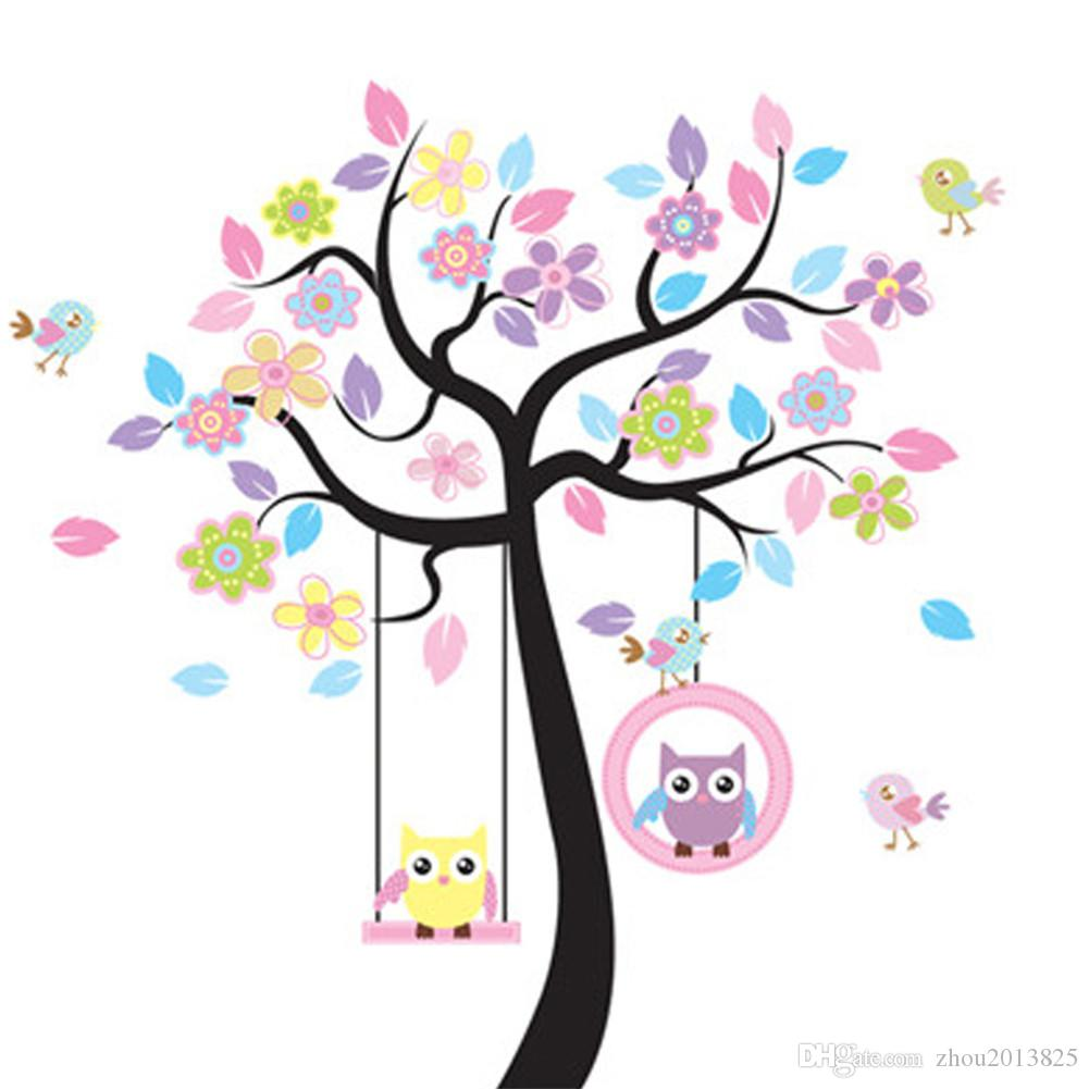 Lovely cartoon couple owl swing tree colorful removable wall lovely cartoon couple owl swing tree colorful removable wall stickers diy wallpaper mural room wall sticker wall vinyls home decor wall wear removable voltagebd Gallery