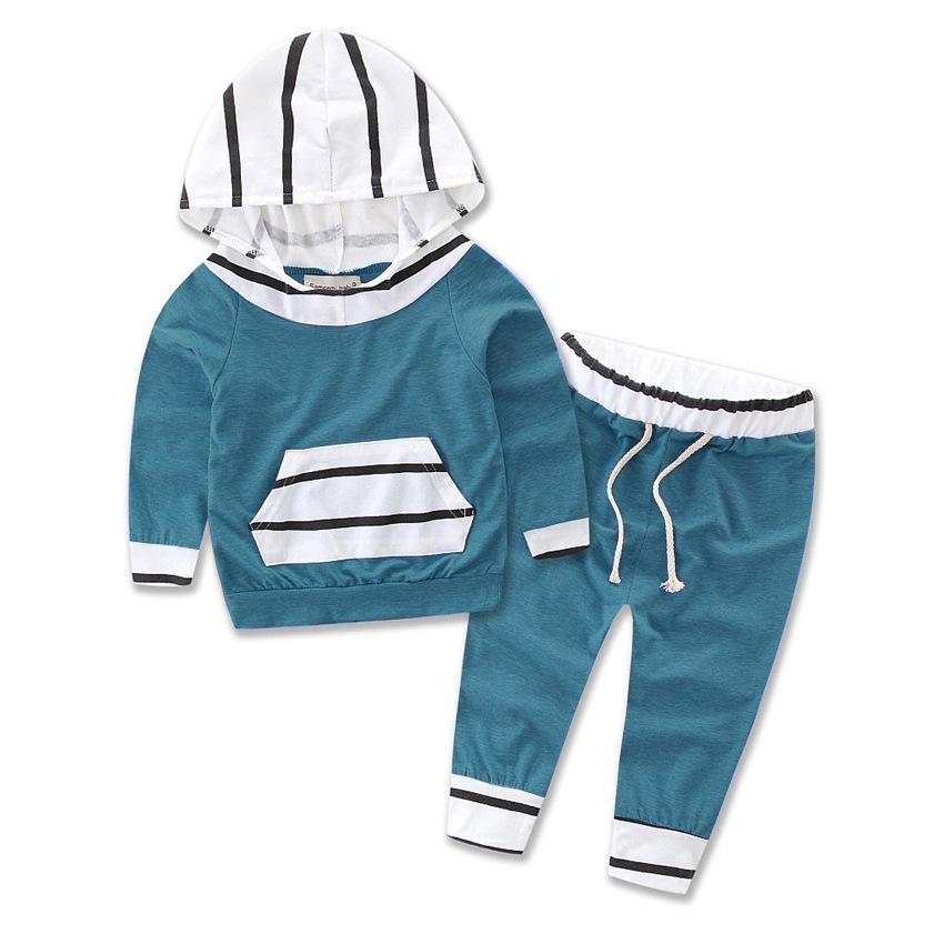 Çizgili Baskı Iki Parçalı Bebek Giyim Seti Çocuklar Kış Giyim Kapşonlu Ve Pantolon Suits Kız Erkek Erkek Erkek Giysileri Çiçek Kız 893