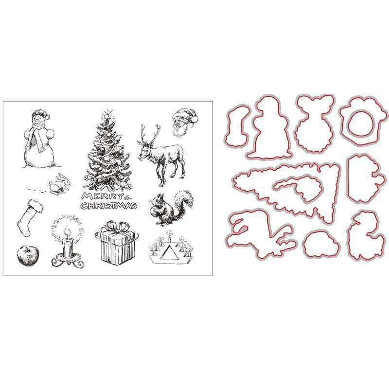 Funique الكربون الصلب قطع يموت + سيليكون شفاف ختم زينة للمنازل diy سكرابوكينغ هدية السنة الجديدة