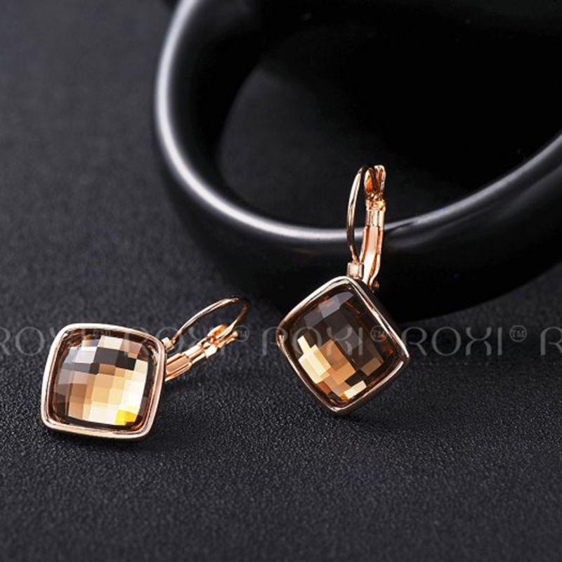 2017 ROXI Women Earrings Champagne Rose Gold orecchini donn Large Crystal Stud Earrings Fashion Jewelry aretes