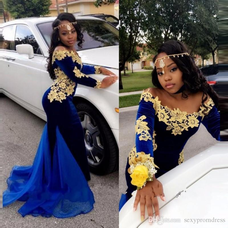 e1e10bf25a Royal Blue Off Shoulder 2k17 Prom Dresses With Gold Lace Appliques Long  Sleeve Mermaid Evening Gowns African Chiffon Train Party Dress Design Your  Own Prom ...