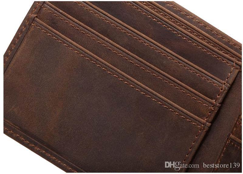Dark Brown High Quality Vintage Men Wallet Real Crazy Horse Leather Purse Cowhide Card Holder Pocket Clutch Bag
