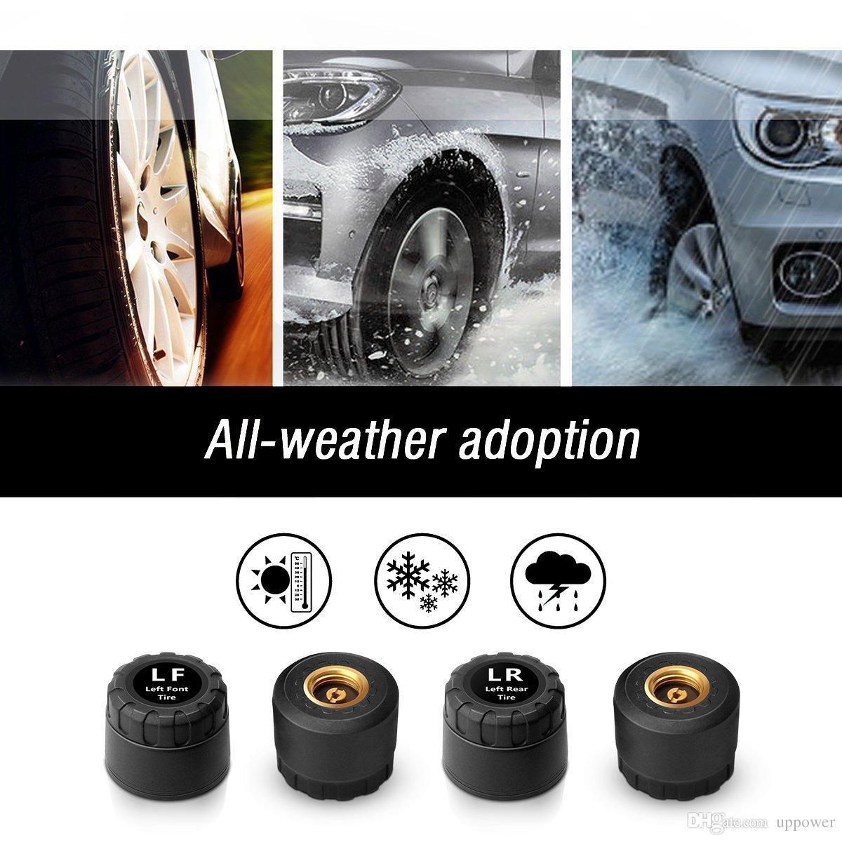 CarBest 태양 강화 TPMS 신뢰할 수있는 타이어 압력 자동차 모니터링 시스템 4 개의 외부 센서 4 센서 자동 알람 시스템